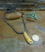 Early Rare Navajo Sterling Bisbee Turquoise Bench Bead Necklace Native Old Pawn