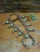 Sale.navajo Sterling Sleeping Beauty Turquoise Squash Blossom Necklace Old Pawn