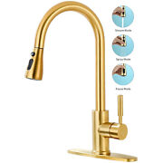 Kitchen Faucet Sink Pull Down Sprayer Single Handle Brushed Gold Swivel W/ Cover