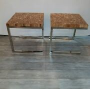 Mid Century Modern Chrome And Live Edge Wood End Tables Exceptional Design