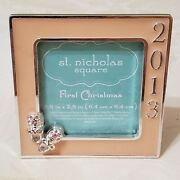 St Nicholas Square 2013 Girl Baby's First Christmas Photo Frame Silver Pink