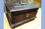 Antique Victorian Early Wood Jewelry Box W/velvet, Silk,tray Butterfly, Rose