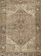 Antique Muted Heriz Distressed Hand-knotted Evenly Low Pile Wool Area Rug 9and039x12and039