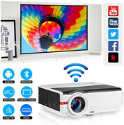 Wireless Blue-tooth Full Hd 8000 Lumen Home Movie Video Lcd Projector Hdmi 1080p