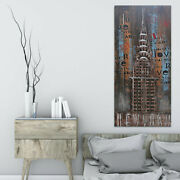 Hand Made Chrysler Building New York 3-d Wall Mont Painting Office Decor Artwork