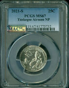 2021-s Tuskegee Airmen Quarter Pcgs Ms67 Pq Mac Spotless Only 2 Finer Rare .