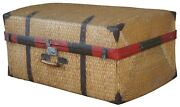 Antique Woven Rattan Bamboo Suitcase Luggage Trunk Coffee Table Boho Chic 34