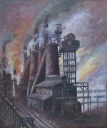 Charles Hoover-ohio Realist-original Signed Oil-ohio Industrial View 1933