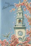 Vintage Church Steeple Doves Spring Pink Blossoms Scripture Greeting Card Print