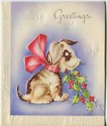 Vintage Christmas Scotty Scottish Terrier Dog Holly Embossed Art Greeting Card