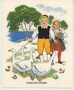 Vintage St Martin's Day Geese Roast Goose Apples Recipe Print 1 Duck Decoy Card