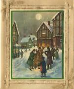 Vintage Christmas Victorian Musicians Village Row Houses Cello Greeting Card C