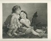 Antique Scottish Girls Children Child Toy Playing Jack In The Box Puppet Print