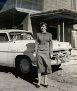 Woman With Old Car Texas License Plate Lot Of 4 Photograph Picture Black And White