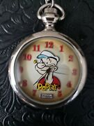 New Fossil Popeye Limited Edition Silver Pocket Watch Htf