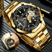 Fngeen Waterproof Gold Menand039s Watch Classic Stainless Steel Quartz Business Gift