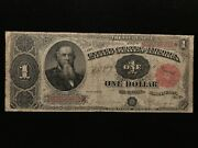 1891 1 One Dollar Stanton Treasury Note Large Size Fr.351 Very Fine Vf