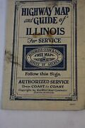 Mid-west Map Company.early Highway Map And Guide Of Illinois Circa 1928 Folded