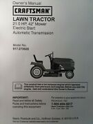 Sears Craftsman 21.0hp Hydro Lt1000 Lawn Tractor 917.273522 Owner And Parts Manual