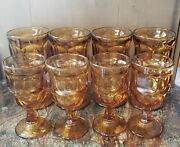 Fairfield By Anchor Hocking Amber Water Goblets On The Rocks Gobelts