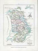 1776 Ireland - Rare Engraved Antique Map Of Antrim By Bernard Scale Bs2/12