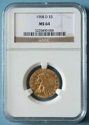1908-d Gold 5 Half Eagle Coin Ngc Ms-64