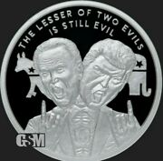 1 Oz .999 Pure Silver Shield Proof Lesser Of Two Evils V2 Biden Trump Round Coin