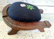 Antique Victorian 1886 Horse Shoe Good Luck Floral Needlepoint Carved Foot Stool