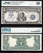Awesome Choice Vf++ 1899 5 Indian Chief Silver Certificate Pmg 30 Free Ship