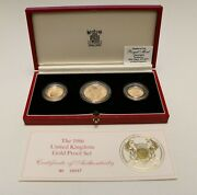 Uk Great Britain 1986 Gold Proof 3 Coins 1/2, 1, 2 Sovereigns  B256