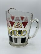 Art Deco Water Pitcher Red Black Yellow Geometric Pattern Clear Glass Vintage