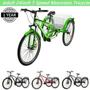 Adult Mountain Tricycle 7-speed 24inch 3-wheel Mtb Bicycle With Shopping Basket