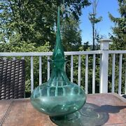 """Blenko Glass 7219 Ellipse Decanter In Mint Green With Stopper 18"""" Tall"""