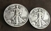 1942 D And Unmarked Walking Liberty Half Dollar 90 Silver
