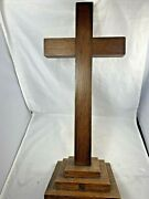 1935 Antique Standing Quarter Sawn Oak 21 Large Wood Cross For The Church Altar