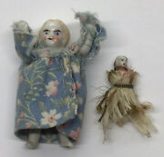 Antique Estate Porcelain Baby Dollhouse Doll Lot 2 Germany Wire Jointed Stamped