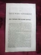 1848 1st Zachary Taylor - The True Whig Sentiment - Presidential Letters Rare