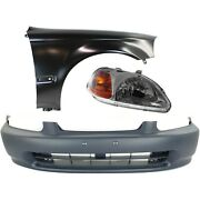 Bumper Cover Kit For 96-98 Civic Models With License Plate Provision 3pc