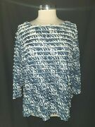 Coldwater Creek Plus Size 3x 24w 26w Shirt Top Blue Tiered Ruffles 3/4th Sleeve