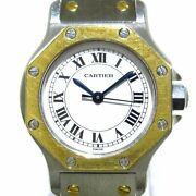 Auth Santos Octagon Silver 18k Yellow Gold Ss 090741477 Womens Watch