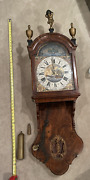 Antique Wall Clock Friese Staarklok 8 Day Chain Driven Painting Civil War Wood