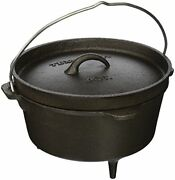 Texsport Cast Iron Dutch Oven With Legs, Lid, Dual Handles And Easy Lift Wire