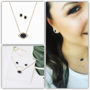 Stella And Dot Charlotte Gold Pendant Necklace And Earrings Set Deep Navy New