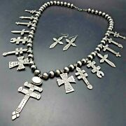 Lorenzo James Navajo Stamped Sterling Silver Diverse Cross Necklace Earrings Set