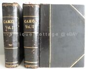 Best 1895 Antique Fine Binding 2vol Games Books Chess Playing Cards Billiards +