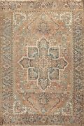 Antique Geometric Heriz Hand-knotted Area Rug Traditional Wool Oriental 8and039x11and039