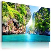 Jamaica River Mountains Perfect View Canvas Wall Art Picture L176 Mataga