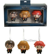 Hallmark Harry Potter Chibi Ron Harry And Hermione Christmas Holiday Ornament Set