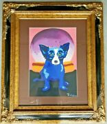 Original Blue Dog Oil On Heavy Thicker Paper Framed Signed Rodrigue