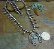 Old Stunning Navajo Sterling Turquoise Squash Blossom Necklace Native Old Pawn